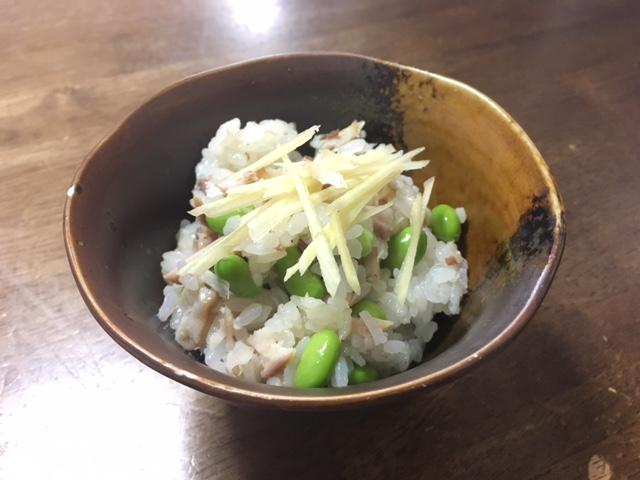アジと枝豆の混ぜご飯